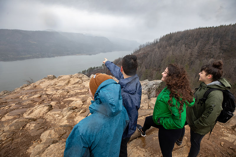 Students hiking in the Columbia Gorge